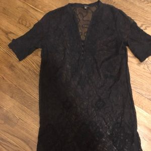Lucky Brand lace black dress with slip